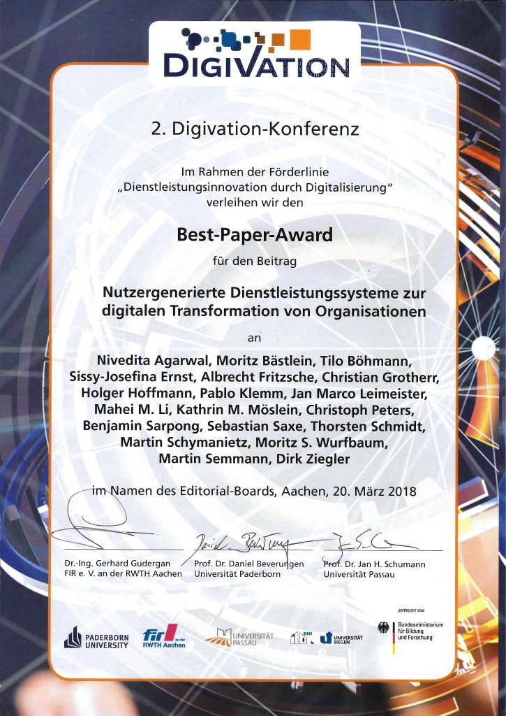 Urkunde Best Paper Digivation 2018